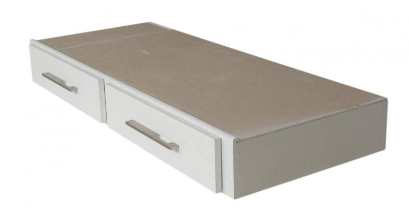 Nice Rectangle Underbed Storage Cabinet White Painted