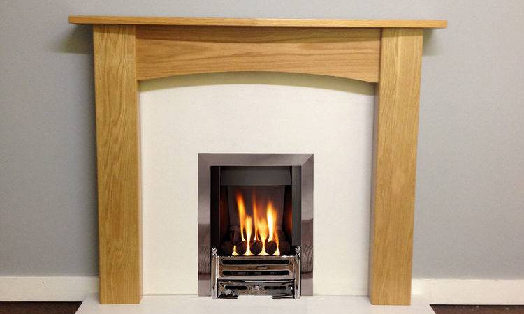 Oak Fire Surround White Marble Electric Gas Complete