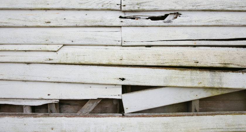 Old White Weatherboard Wooden Plank Wall