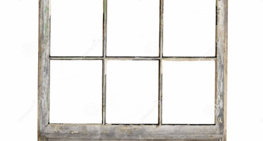 Old Wood Frame Window Isolated