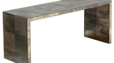 Oly Studio Giles Grey Waterfall Console Table Kathy Kuo Home