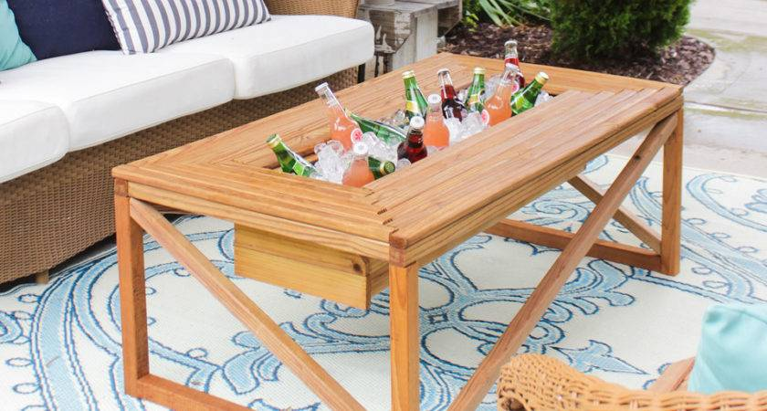 Outdoor Coffee Table Beverage Cooler Buildsomething