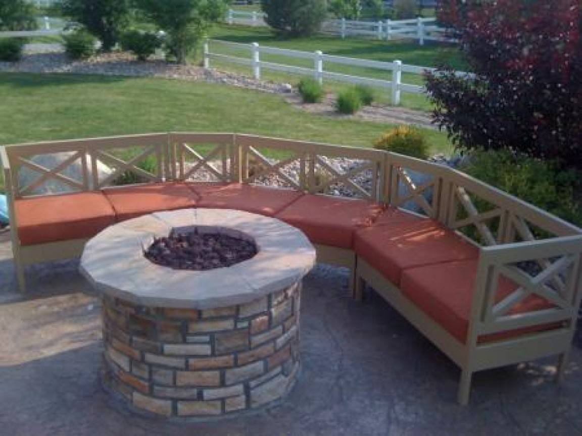 Outdoor Fire Pit Pics Curved Bench Plans Gabe Jenny Homes
