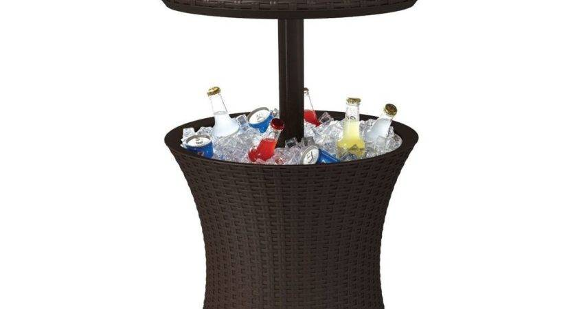 Outdoor Patio Pool Cocktail Table Cooler Bar Brown