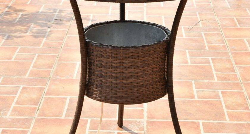 Outdoor Patio Rattan Cooler Table Tables