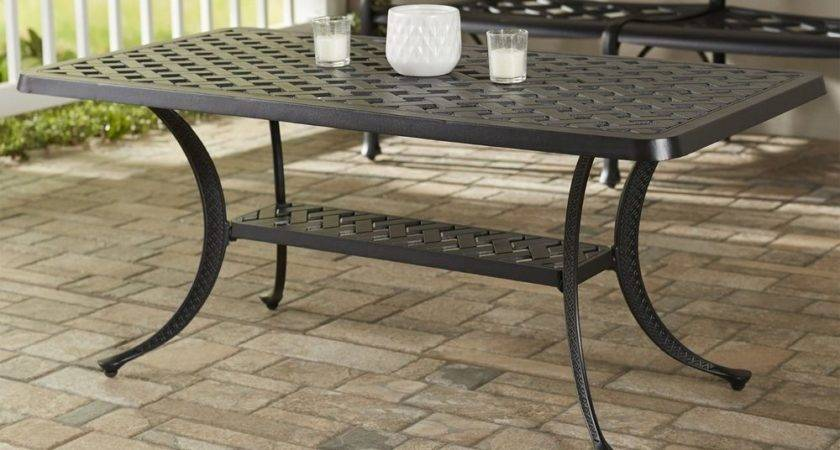 Outdoor Rectangular Patio Table Cast Aluminum Indoor Metal