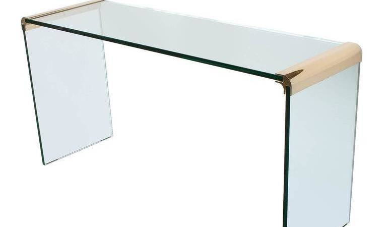 Pace Brass Glass Waterfall Console Table Stdibs