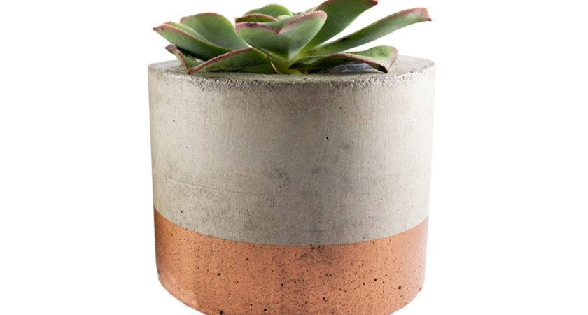 Paint Dipped Concrete Planter Pot Copper Felt