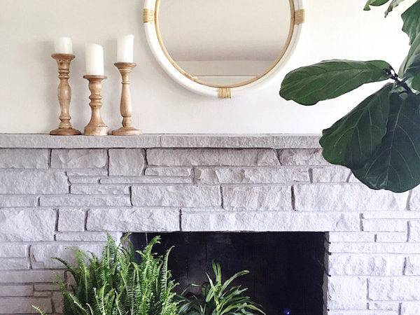Painted Stone Fireplace Makeover Inspired Room