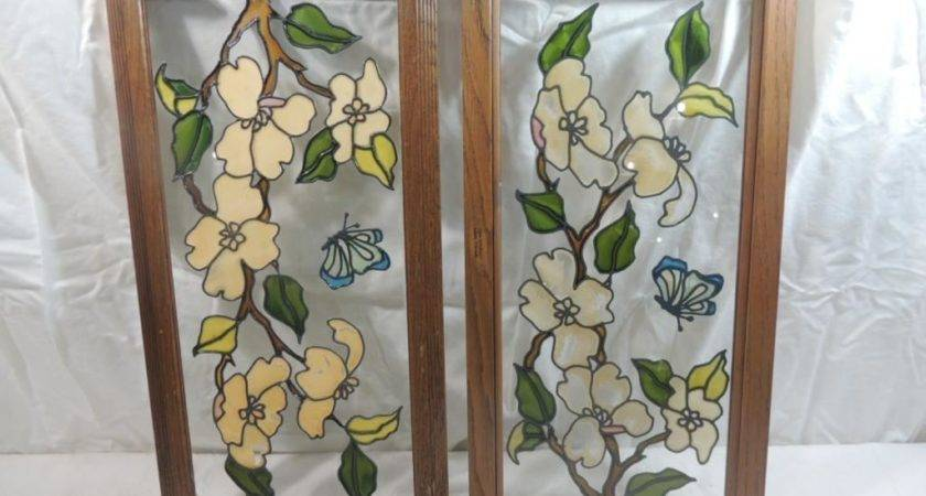 Pair Faux Stained Glass Window Panes