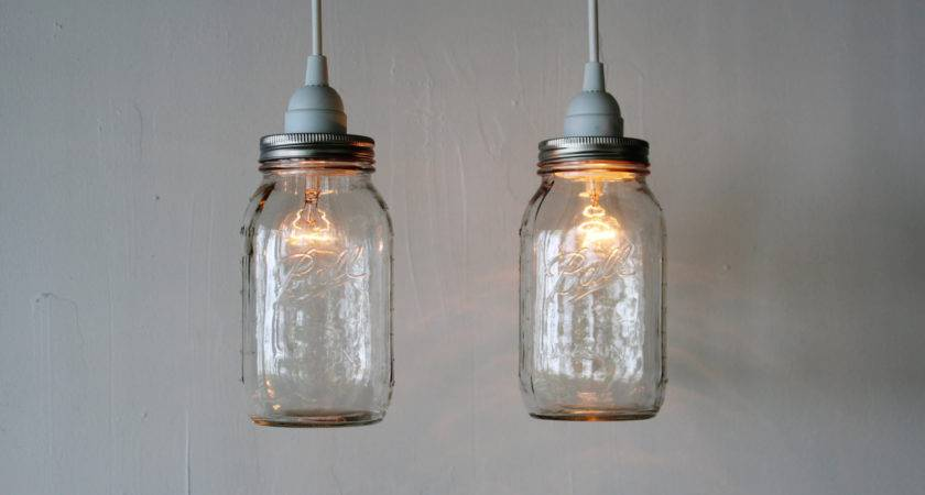 Pair Mason Jar Hanging Pendant Lights Upcycled Rustic