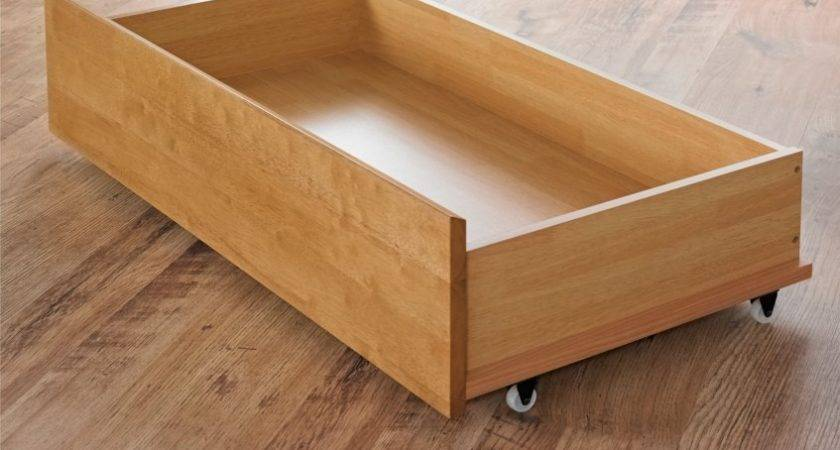 Pair Oak Finish Under Bed Drawers Underbed