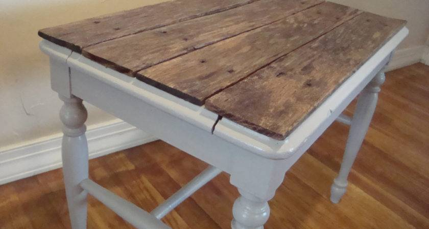 Pallet Top Table Grey Side End Nightstand