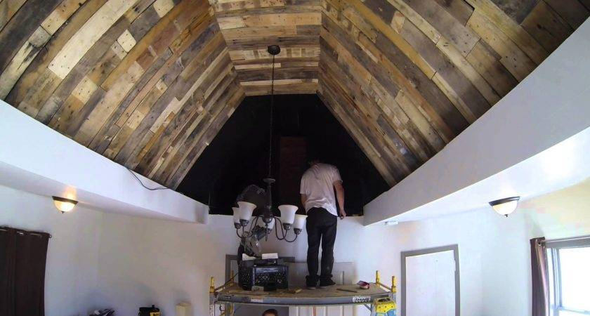 Pallet Wood Ceiling Install Time Lapse Youtube