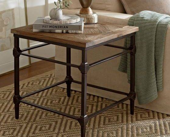 Parquet Reclaimed Wood Side Table Pottery Barn