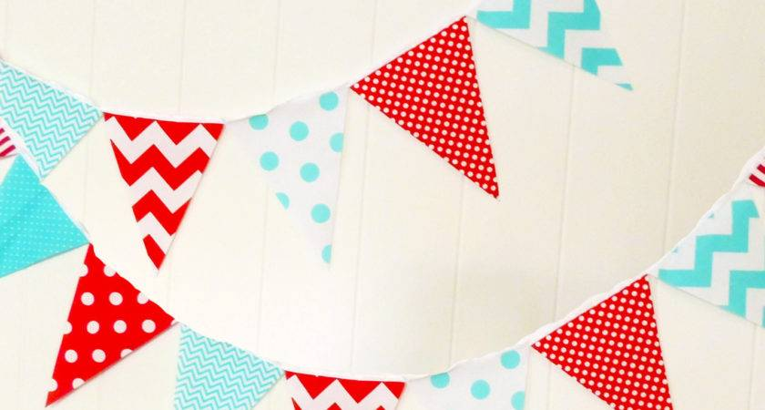 Party Banner Bunting Fabric Pennant Flags Aqua Blue Red