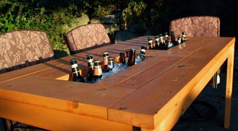 Patio Table Built Beer Wine Coolers
