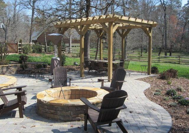 Pergola Patio Fire Pit Traditional
