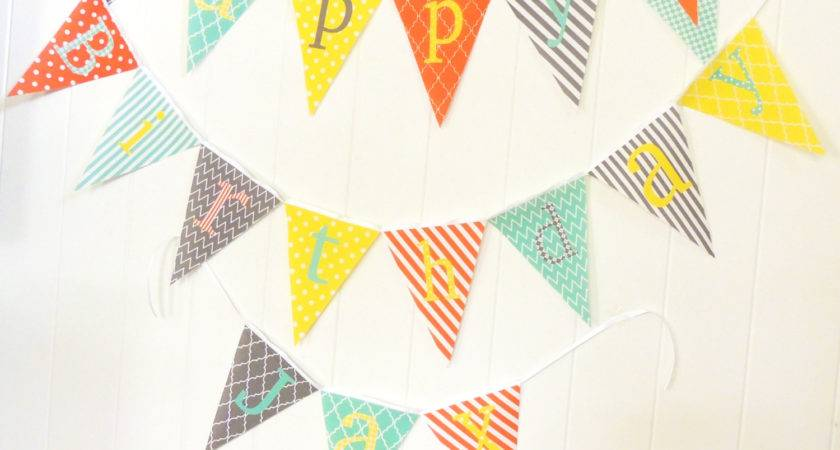 Personalized Fabric Pennant Flags Baby Name Banner Nursery