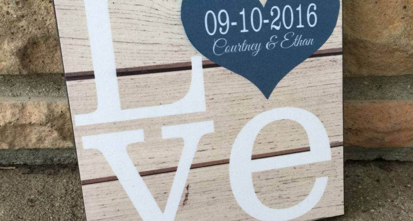 Personalized Love Wood Sign Wedding Gift Anniversary