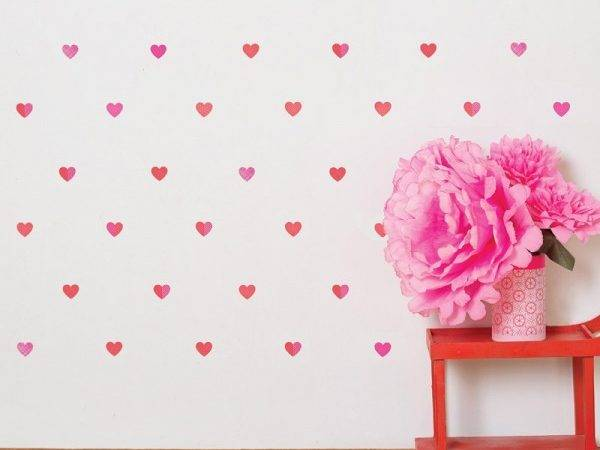Petit Hearts Fabric Wall Decals Collage