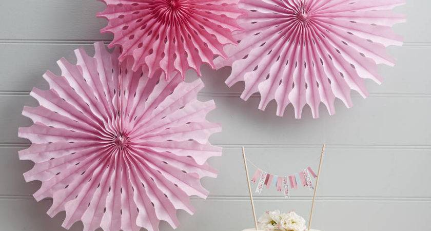 Pink Tissue Paper Fan Decorations Ginger Ray