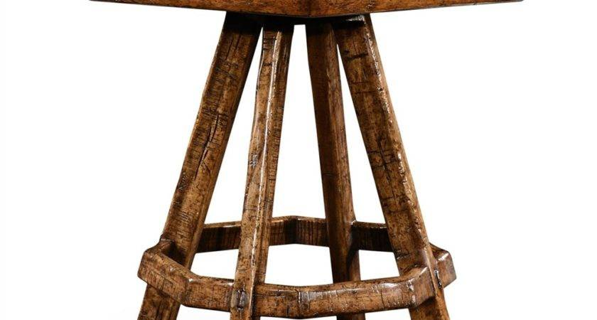Planked Walnut Rustic Side Table Octagonal Top