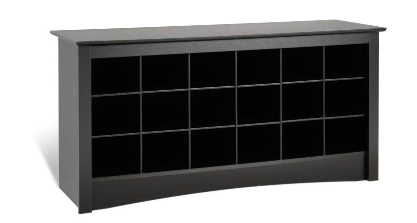 Prepac Sonoma Black Shoe Storage Cubbie Bench Beyond Stores