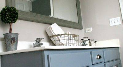 Pretty Distressed Bathroom Vanity Makeover Latex Paint