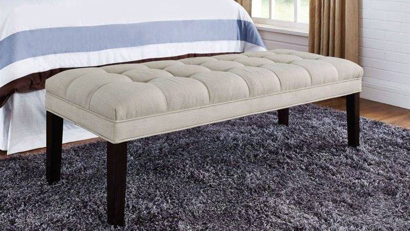 Pri Upholstered Tufted Bedroom Bench Taupe
