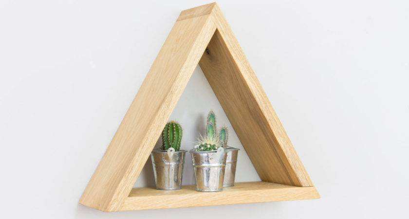 Pyramid Triangle Wall Shelf Solid Oak Single