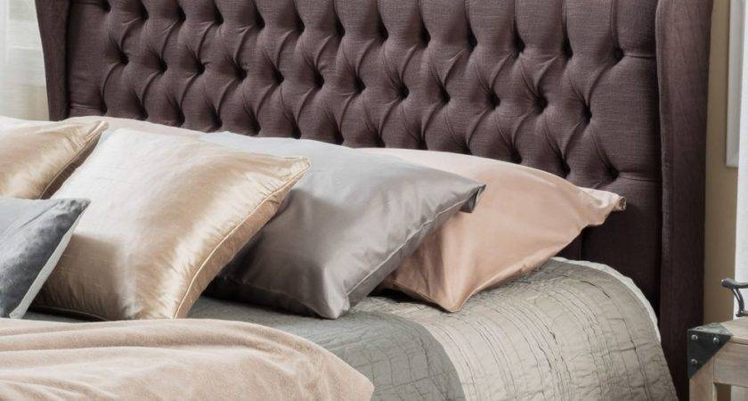 Queen Bed Wingback Fabric Headboard Button