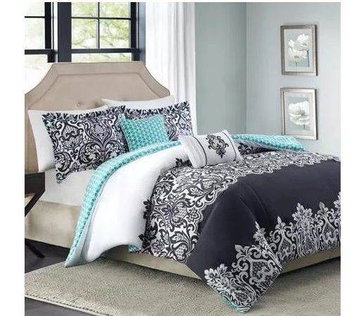 Queen Comforter Set Black White Aqua Damask
