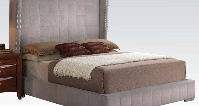 Queen Gray Velvet Nailhead Trim Headboard Platform Bed
