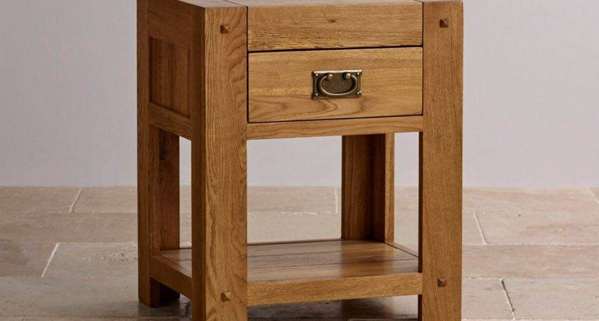 Quercus Drawer Bedside Table Rustic Solid Oak