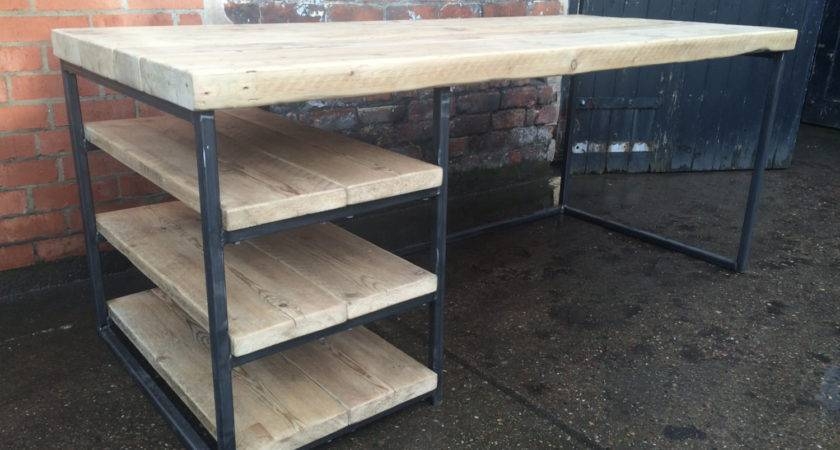 Reclaimed Industrial Chic Wood Metal Desk Dining Table