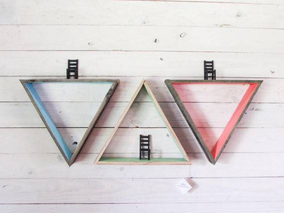 Reclaimed Wood Triangle Wall Shelves