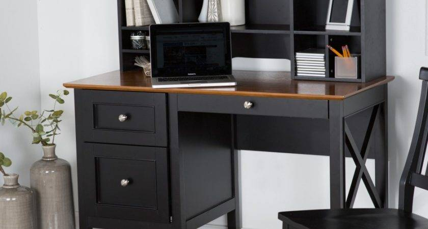 Rectangle Black Wooden Desk Drawers Shelves