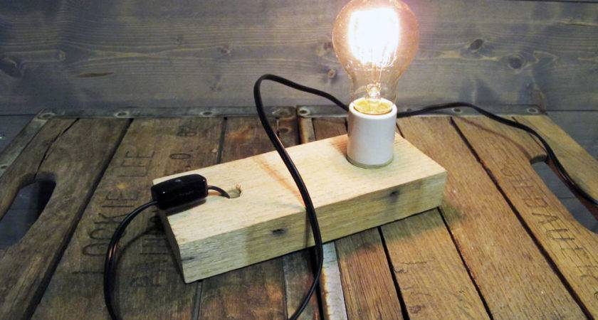 Recycled Pallet Wood Table Lamp Wall Sconce Reclaimed