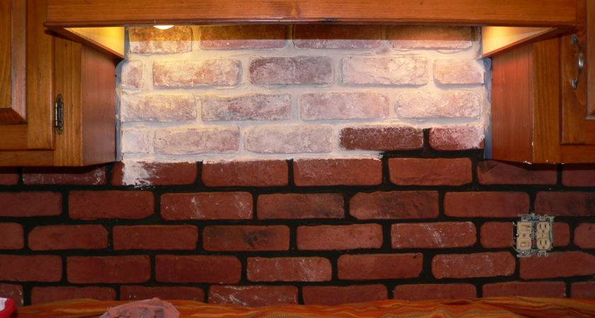 Red Brick Kitchen Backsplash Transitional
