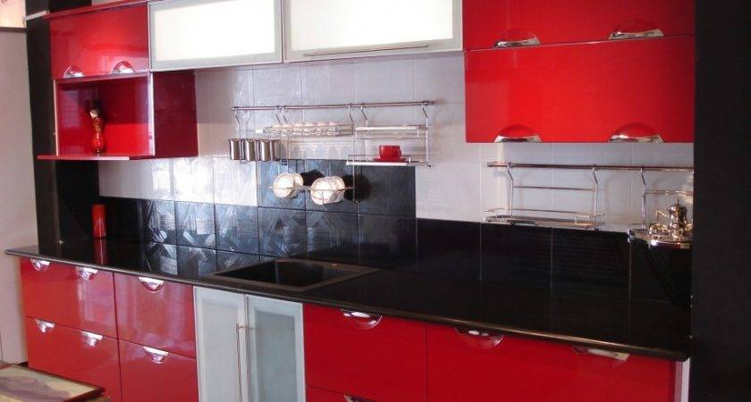 Red Kitchen Cabinets Traditional Design