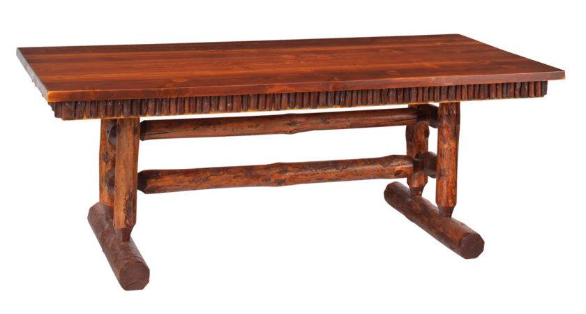 Red Pine Log Trestle Dining Table Foot