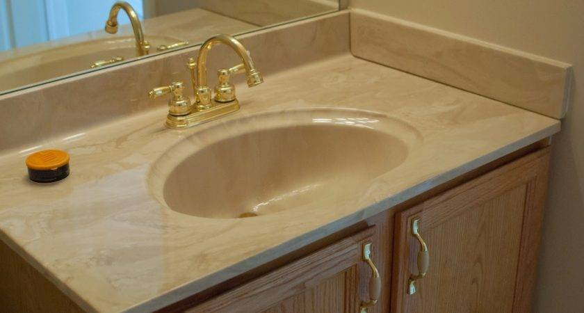 Remodelaholic Painted Bathroom Sink Countertop Makeover