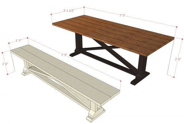 Remodelaholic Rustic Dining Table Bench Building Plan