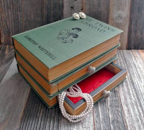 Repurposed Book Jewelry Boxes Lamps