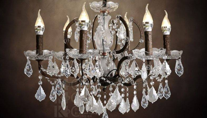 Rococo Hanging Lamp Rustic Iron Clear Crystal