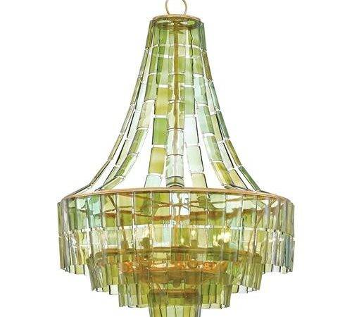 Rodger Modern Recycled Green Wine Glass Chandelier Kathy