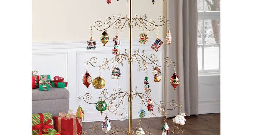 Rotating Ornament Display Tree Hammacher Schlemmer