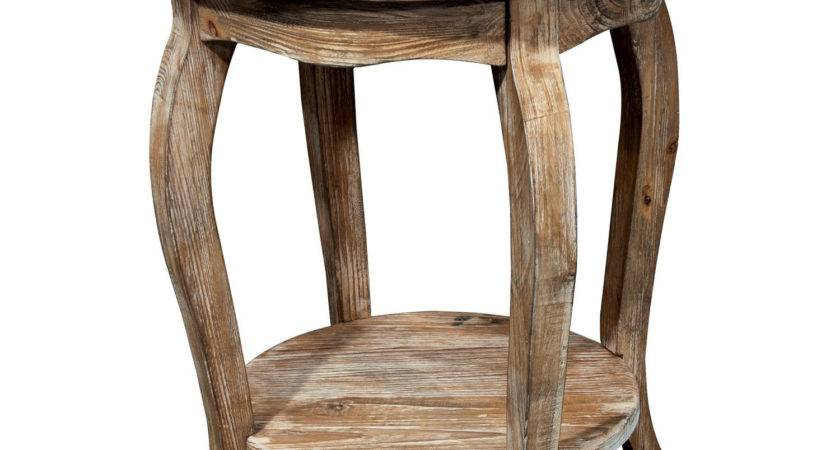 Round Rustic Brown Wooden Side Table Shelf Four