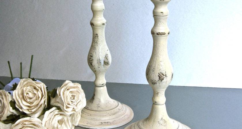 Rustic Candle Holders Ivory Sticks